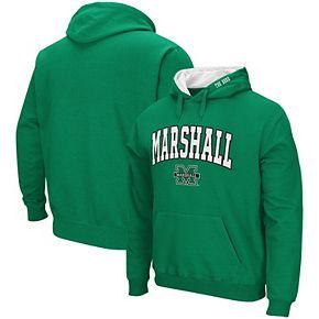 Men's Colosseum Kelly Green Marshall Thundering Herd Arch & Logo Pullover Hoodie