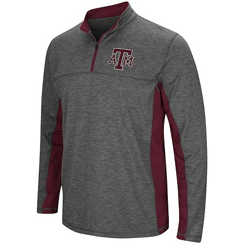 Men's Colosseum Heathered Charcoal Texas A&M Aggies Milton Windshirt Quarter-Zip Pullover Jacket