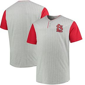 Men's Majestic Gray/Red St. Louis Cardinals Big & Tall Life or Death Pinstripe Henley T-Shirt