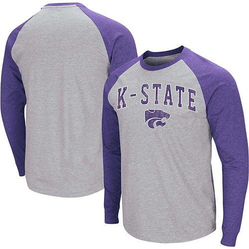 Men's Colosseum Heathered Gray Kansas State Wildcats Olympus III Raglan Long Sleeve T-Shirt