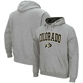 Men's Colosseum Heathered Gray Colorado Buffaloes Arch & Logo Pullover Hoodie