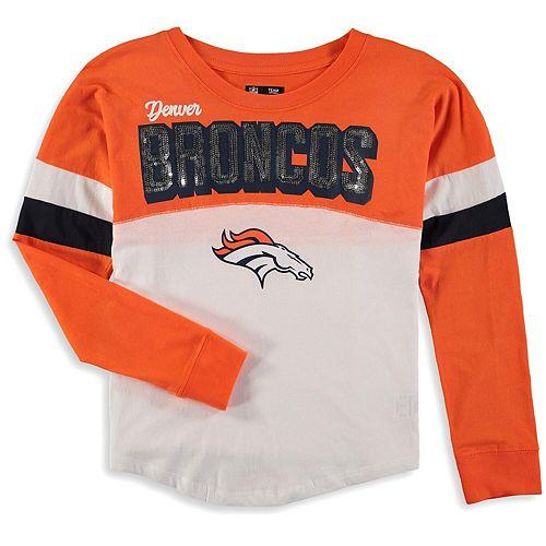 Girls Youth New Era White/Orange Denver Broncos Baby Jersey Long Sleeve T-Shirt