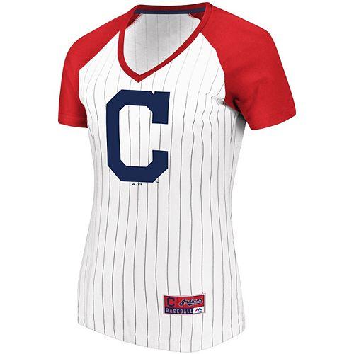Women's Majestic White/Red Cleveland Indians Plus Size Raglan V-Neck T-Shirt