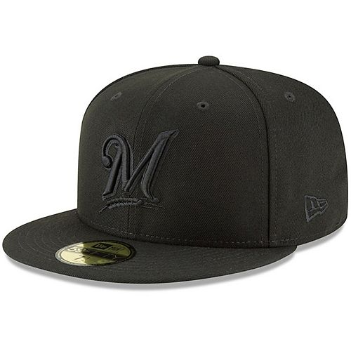 Men's New Era Black Milwaukee Brewers Primary Logo Basic 59FIFTY Fitted Hat