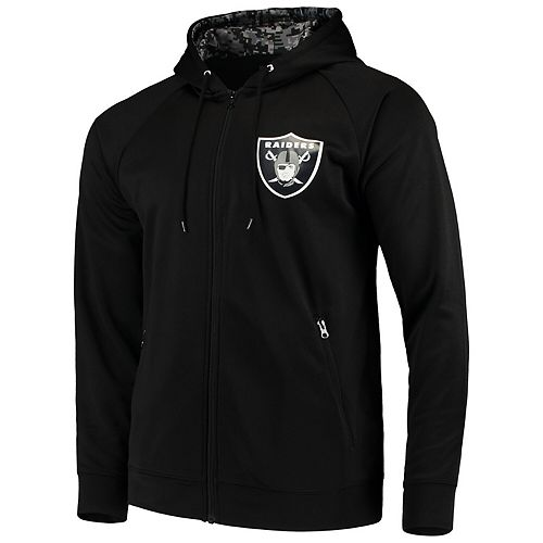 Men's Zubaz Black Oakland Raiders Digi Camo Full-Zip Raglan Hoodie