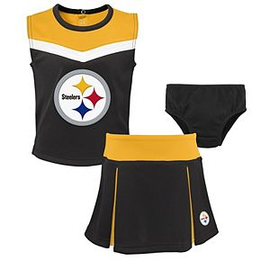 Girls Preschool Black Pittsburgh Steelers Two-Piece Spirit Cheer Cheerleader Set With Bloomers