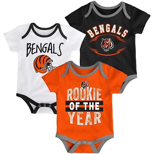 Infant Black/Orange/White Cincinnati Bengals Kicking & Screaming Three-Piece Bodysuit Set