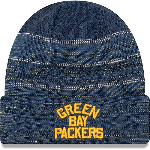 Men's New Era Green Green Bay Packers 2017 Sideline Cold Weather Historic TD Knit Hat