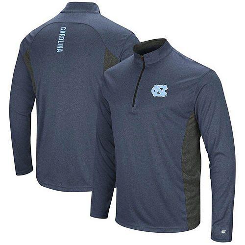 Men's Colosseum Heathered Navy/Black North Carolina Tar Heels Audible Windshirt Quarter-Zip Pullover Jacket
