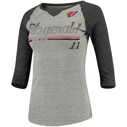 Women's Juniors Larry Fitzgerald Heathered Gray/Black Arizona Cardinals Over the Line Player Name & Number Tri-Blend 3/4-Sleeve V-Notch T-Shirt