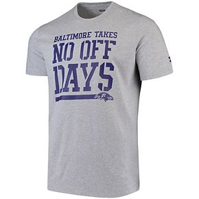 Men's Under Armour Gray Baltimore Ravens Combine Authentic No Off Days Tri-Blend Performance T-Shirt