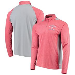 Men's Stitches Heathered Red/Gray Philadelphia Phillies Raglan Sleeve Quarter-Zip Pullover Jacket