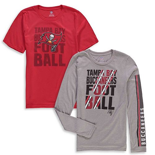 Youth Red/Gray Tampa Bay Buccaneers Playmaker 3-In-1 Long Sleeve/Short Sleeve T-Shirt Combo Pack