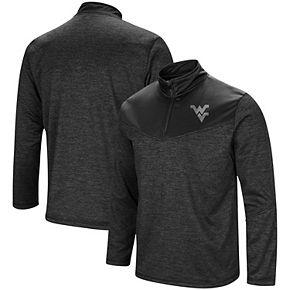 Men's Colosseum Heathered Black West Virginia Mountaineers Blackout Quarter-Zip Pullover Jacket