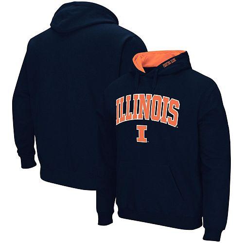 Men's Colosseum Navy Illinois Fighting Illini Arch & Logo Pullover Hoodie