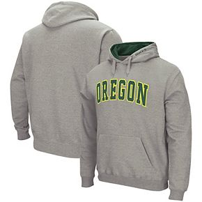 Men's Colosseum Heather Gray Oregon Ducks Arch & Logo Tackle Twill Pullover Hoodie