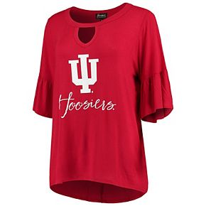 Women's Crimson Indiana Hoosiers Ruffle and Ready Keyhole Tri-Blend 3/4-Sleeve Top