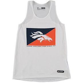 Girls Youth Under Armour White Denver Broncos Split Logo Tank Top