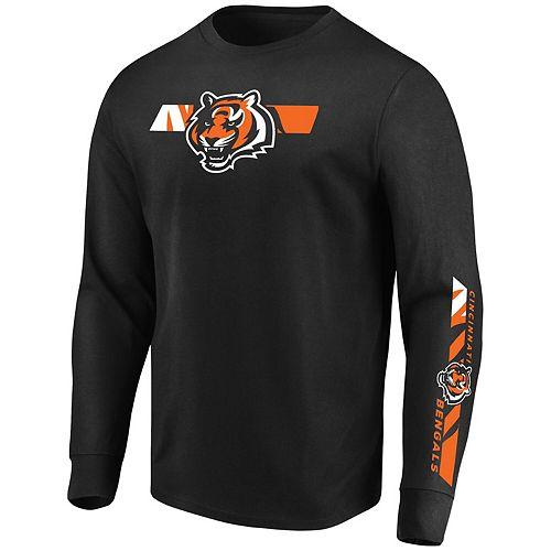 Men's Majestic Black Cincinnati Bengals Big & Tall Dual Threat Long Sleeve T-Shirt