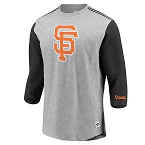 Men's Fanatics Branded Heathered Gray/Black San Francisco Giants MLB Heritage Crew Neck 3/4-Sleeve T-Shirt