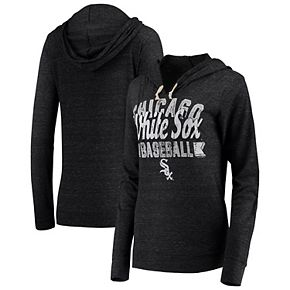 Women's 5th & Ocean by New Era Black Chicago White Sox Jersey Tri-Blend Pullover Hoodie