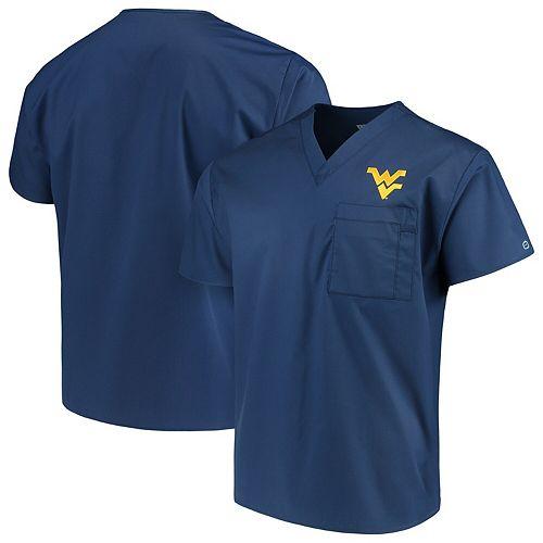 Navy West Virginia Mountaineers V-Neck Scrub Top