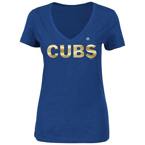 Women's Majestic Royal Chicago Cubs 2017 Gold Program Plus Size Cubs Custom Wordmark V-Neck T-Shirt