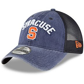 Men's New Era Navy Syracuse Orange Rugged Stack Trucker 9TWENTY Adjustable Snapback Hat