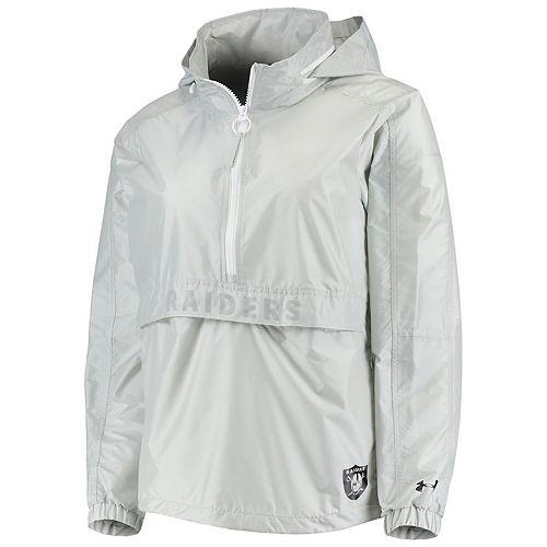 Women's Under Armour Gray Oakland Raiders Combine Authentic Lightweight Popover Half-Zip Jacket