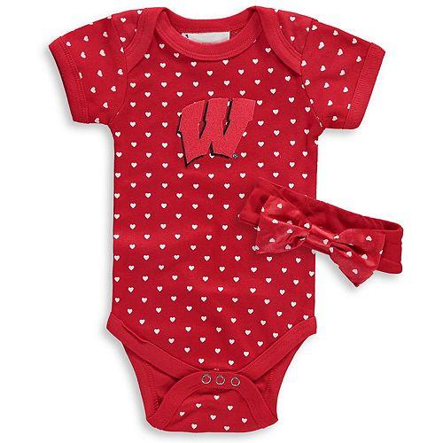 Girls Newborn & Infant Red Wisconsin Badgers Hearts Bodysuit and Headband Set