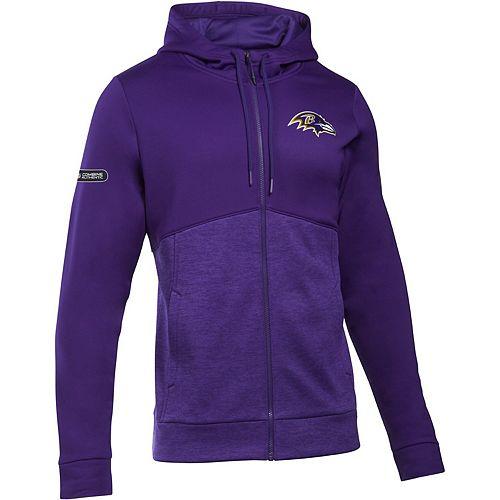 Men's Under Armour Purple Baltimore Ravens Combine Authentic Twist Colorblock Full-Zip Hoodie