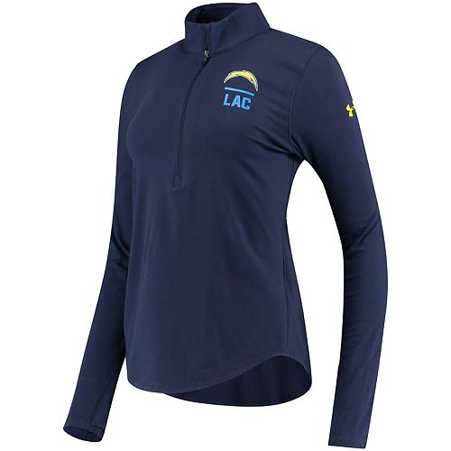 Women's Under Armour Navy Los Angeles Chargers Combine Authentic Favorites Performance Tri-Blend Half-Zip Pullover Jacket
