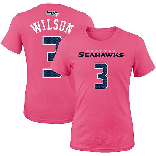 Girls Youth Russell Wilson Pink Seattle Seahawks Mainliner Player Name & Number T-Shirt