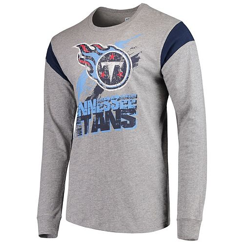 Men's G-III Sports by Carl Banks Heathered Gray/Navy Tennessee Titans Wide Receiver Long Sleeve T-Shirt