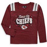 Girls Youth New Era Red Kansas City Chiefs Starring Role Long Sleeve Tri-Blend V-Neck T-Shirt