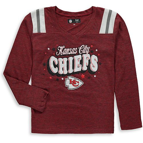 Girls Youth New Era Red Kansas City Chiefs Starring Role Long Sleeve Tri-Blend V-Neck T-Shirt