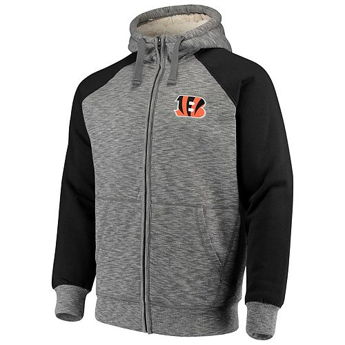 Men's G-III Sports by Carl Banks Heathered Gray/Black Cincinnati Bengals Turning Point Sherpa Lined Full-Zip Jacket