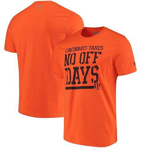 Men's Under Armour Orange Cincinnati Bengals Combine Authentic No Days Off T-Shirt