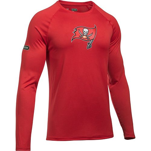 Men's Under Armour Red Tampa Bay Buccaneers Combine Authentic Primary Logo Tech Long Sleeve T-Shirt