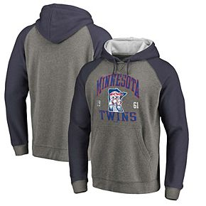 Men's Fanatics Branded Heathered Gray/Navy Minnesota Twins Cooperstown Collection Old Favorite Tri-Blend Pullover Hoodie