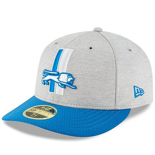 Men's New Era Heather Gray/Blue Detroit Lions 2018 NFL Sideline Home Historic Low Profile 59FIFTY Fitted Hat