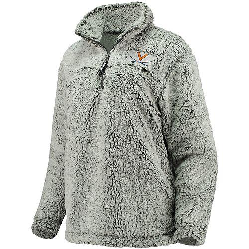 Women's Gray Virginia Cavaliers Sherpa Super Soft Quarter Zip Pullover Jacket