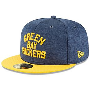Men's New Era Navy/Gold Green Bay Packers 2018 NFL Sideline Home Historic 59FIFTY Fitted Hat