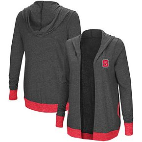 Women's Colosseum Heathered Charcoal NC State Wolfpack Steeplechase Open Cardigan with Hood
