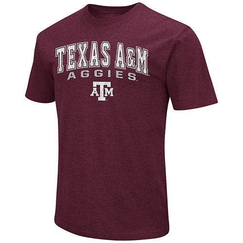 Men's Colosseum Heathered Maroon Texas A&M Aggies Distressed Arch Over Logo T-Shirt
