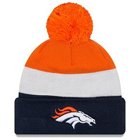 Men's New Era Orange/Navy Denver Broncos Triblock Cuffed Knit Hat with Pom