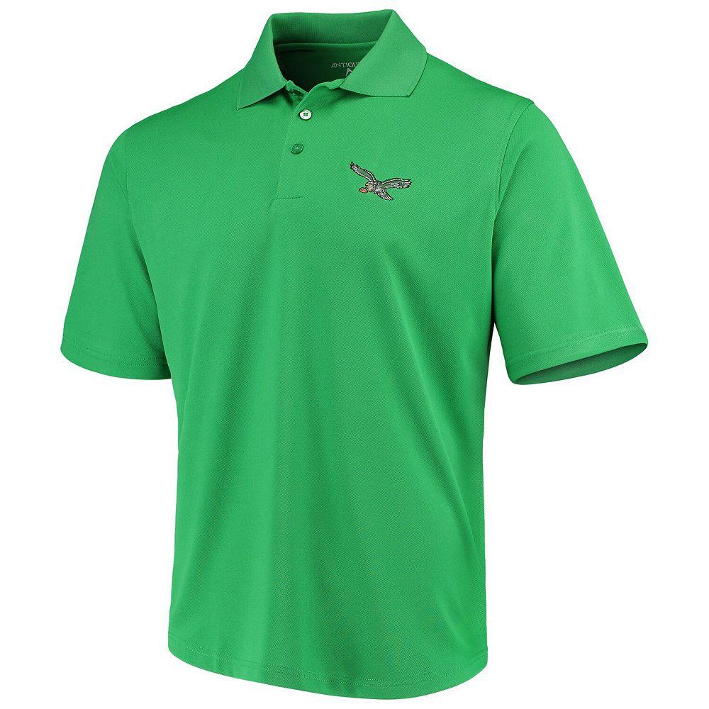 Men's Antigua Kelly Green Philadelphia Eagles Throwback Pique Polo
