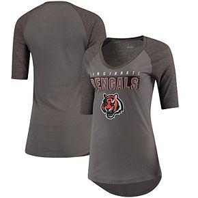 Women's Majestic Charcoal/Heathered Gray Cincinnati Bengals My Team Raglan Half-Sleeve T-Shirt