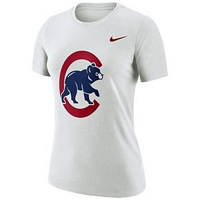 Women's Nike White Chicago Cubs Logo Dry Performance T-Shirt
