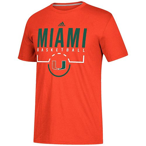 Men's adidas Orange Miami Hurricanes On-Court climalite Basketball T-Shirt